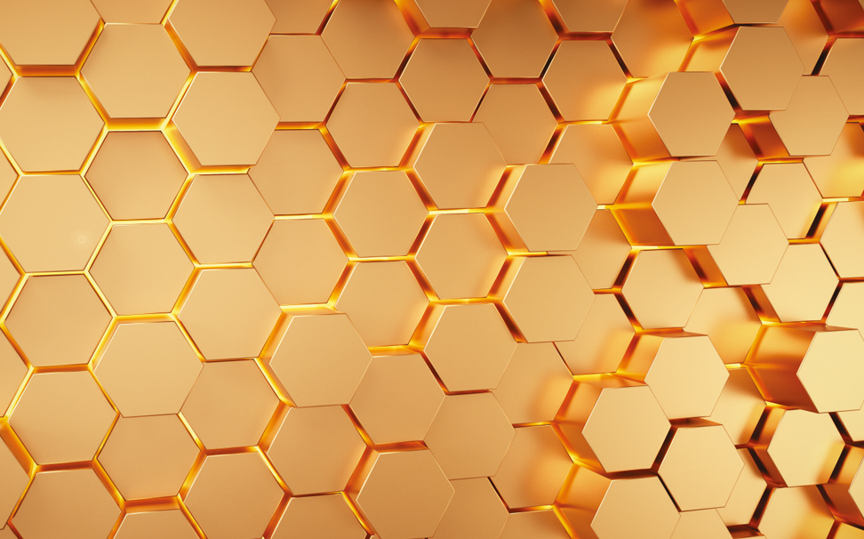 Golden glowing hexgonal honeycomb palettes 3D texture - Marshalls
