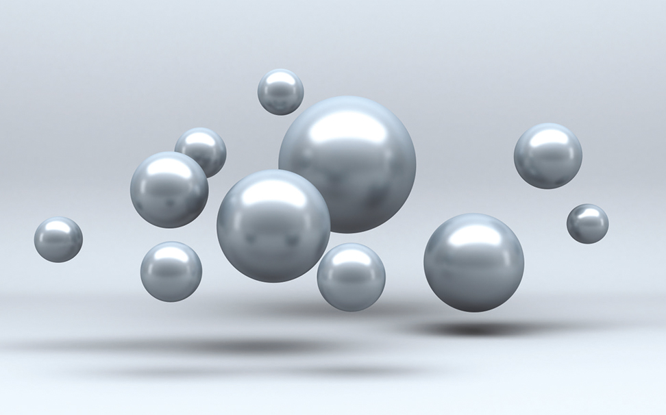 3D silver bubbles floating in mid-air - Marshalls
