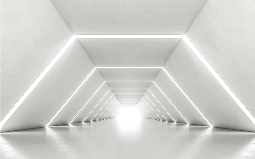 An ambient illuminnated corridor creating intrigue to the entrance - Marshalls