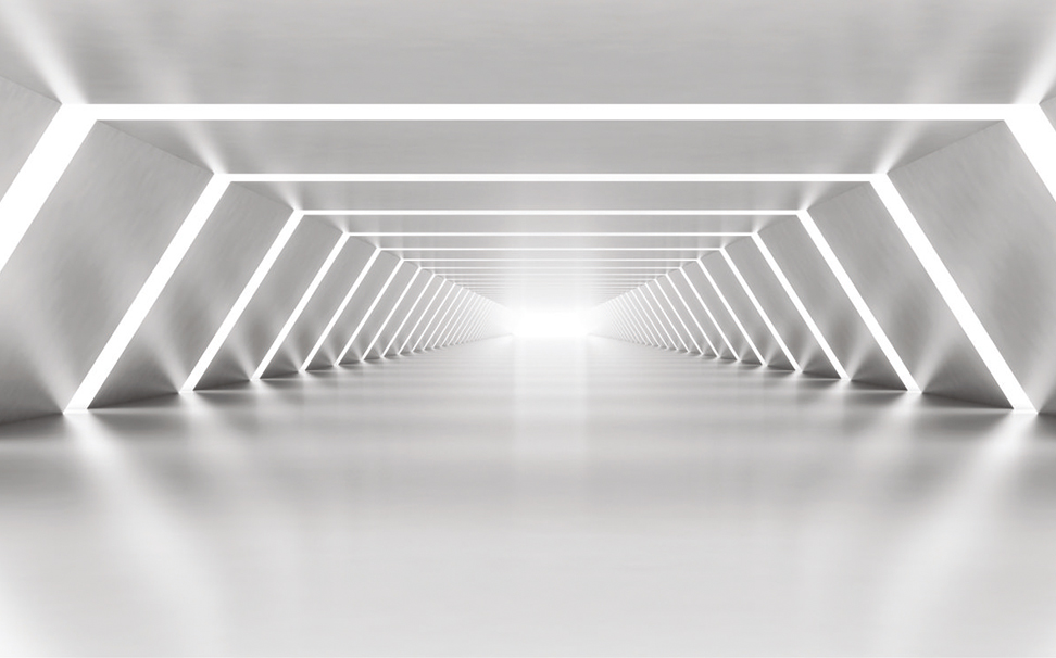 An illuminated shining metal corridor - Marshalls