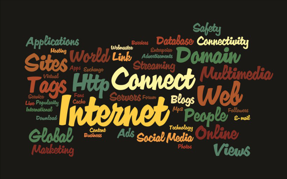 Word cloud explaining the concept of internet - Marshalls