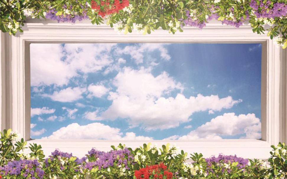 Rectangular old stone roof design with colorful flowers & the blue sky - Marshalls