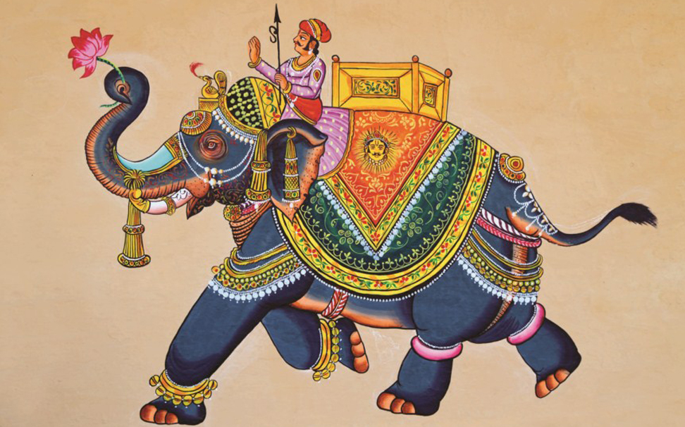 Traditional Indian painting of elephant with jockey - Marshalls