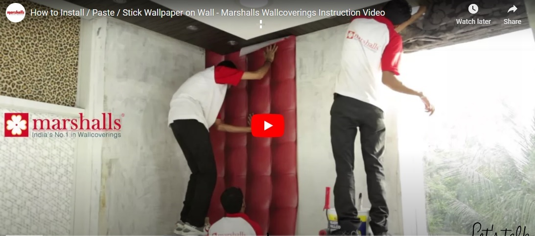 How to Install/Paste/Stick wallpaper on Wall | Watch Marshalls Wallcovering Instruction Video on YouTube