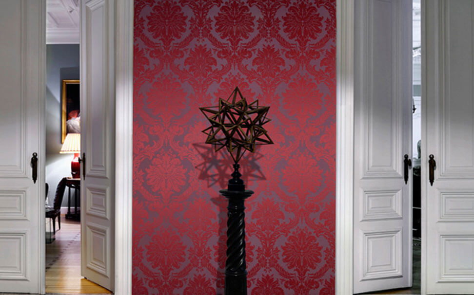 Damask wallcovering red - Marshalls