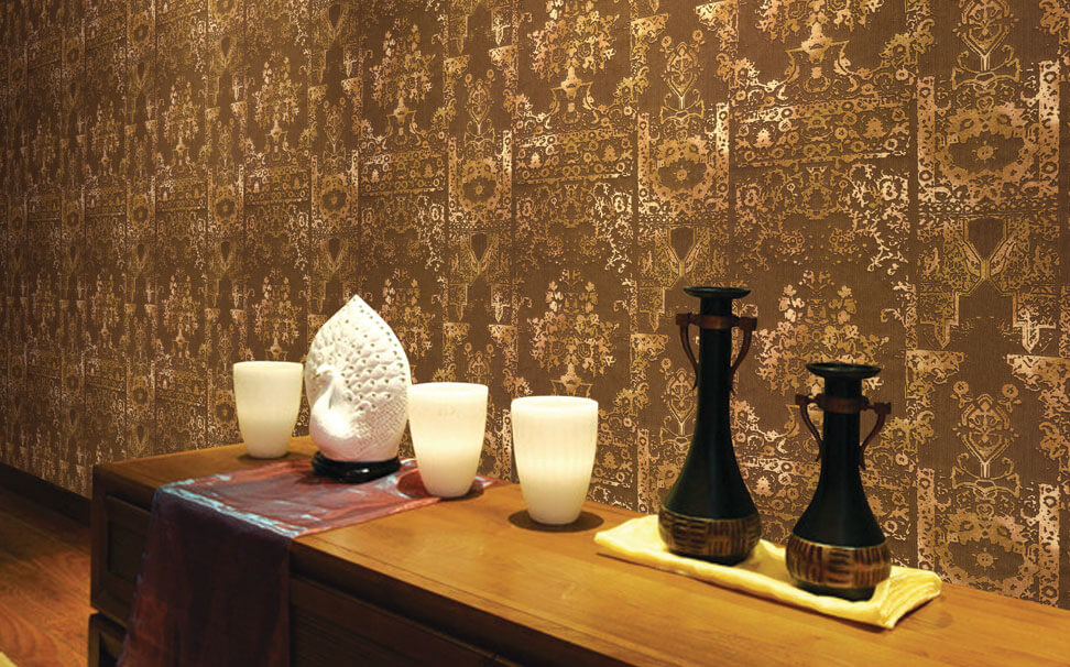 Damask pattern wallcovering for interior - Marshalls