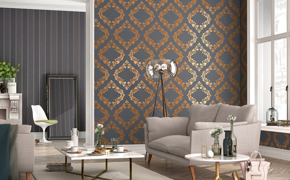 Damask wallpaper for walls - Marshalls