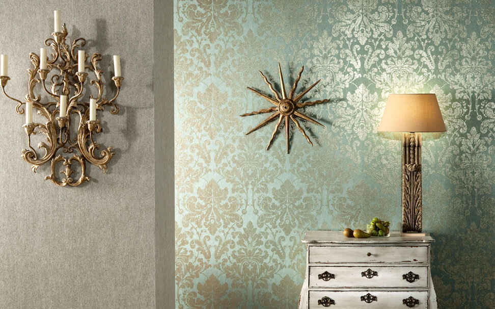 Damask pattern wallcovering - Marshalls
