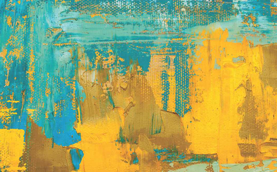 Brushstrokes of bright yellow and blue texture Abstract Wallcoverings - Marshalls