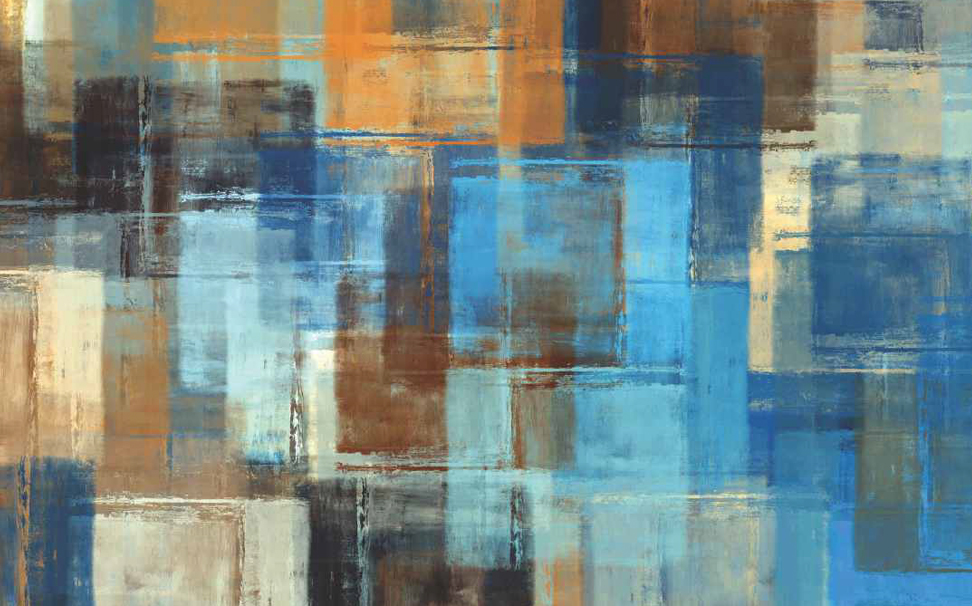 Geometric bright blue and earthy brown squares Abstract Wallcoverings - Marshalls
