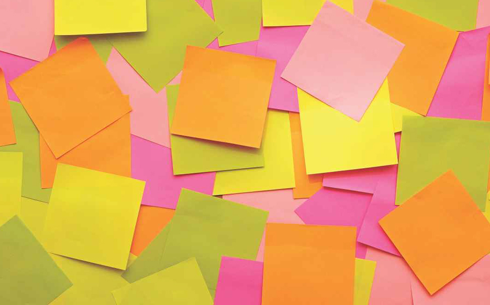 Colourful pattern of blank sticky notes Abstract Wallcoverings - Marshalls