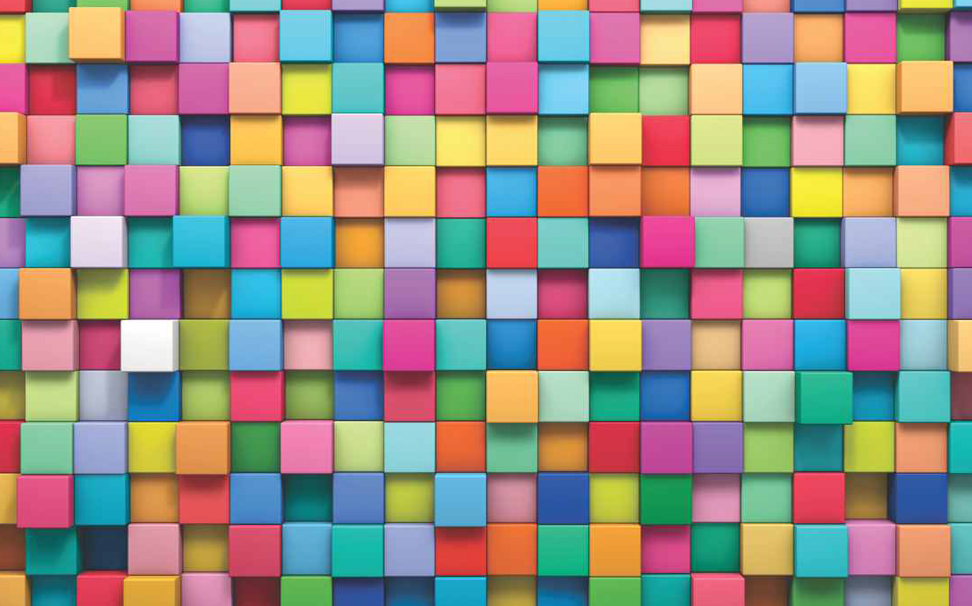 3D multicoloured block design Abstract Wallcoverings - Marshalls