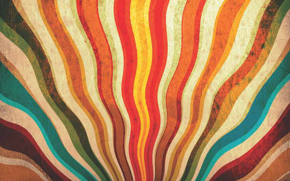 Vintage delight, multicolour sunbeams Abstract Wallcoverings - Marshalls