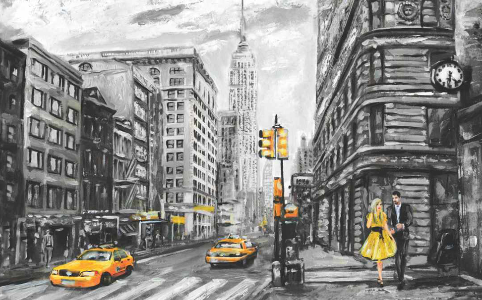 A dual coloured sketch of the Empire State Building in New York Abstract Wallcoverings - Marshalls