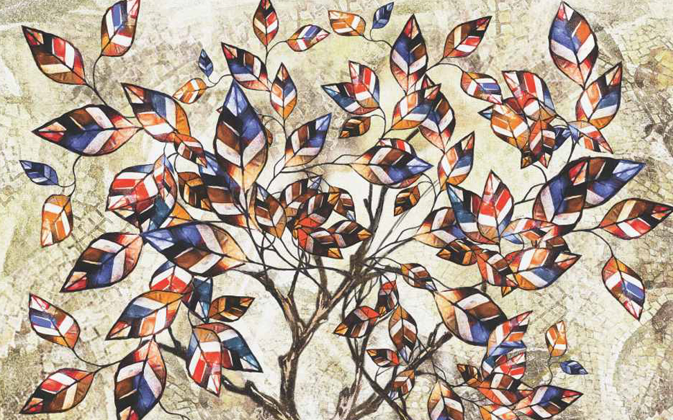 Modern art abstract of mosaic tree Wallcoverings - Marshalls