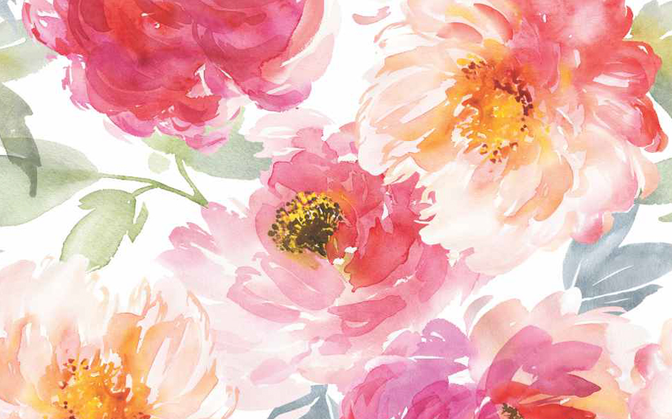 Delicate blooming peony flowers sketched Abstract Wallcoverings - Marshalls