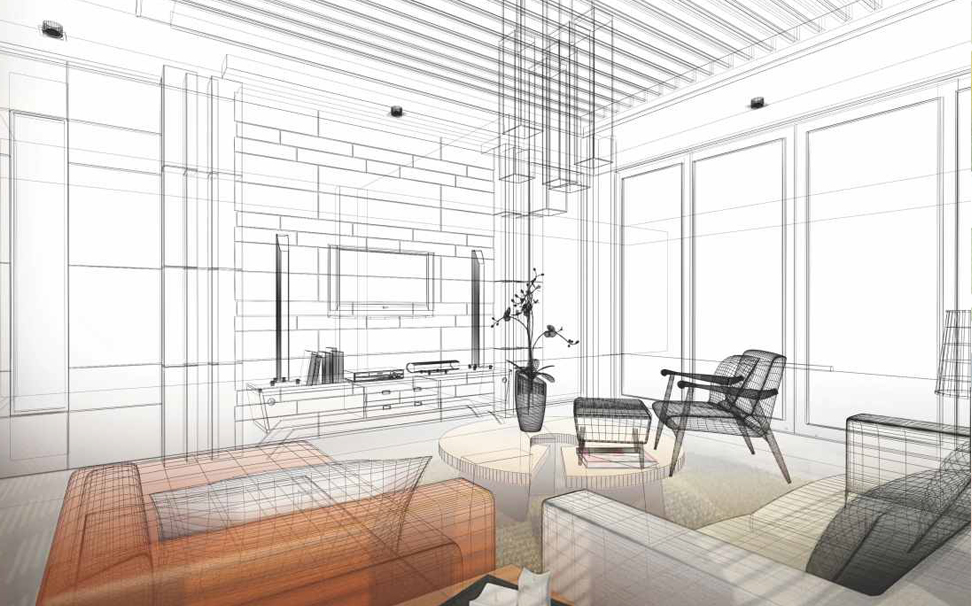 Perspective architectural sketch Abstract Wallcoverings - Marshalls