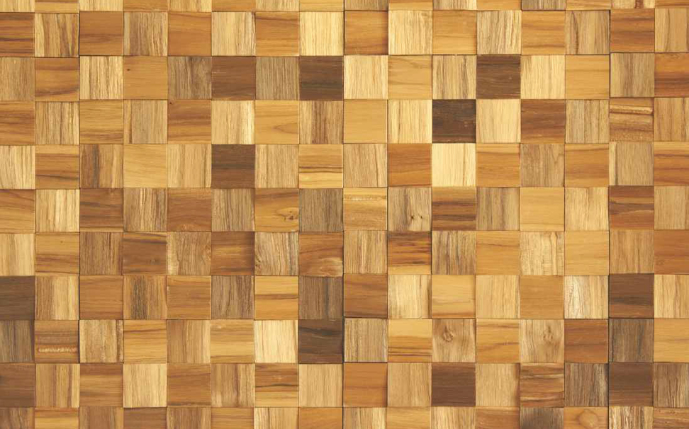 Warm gold wooden 3D squares Abstract Wallcoverings - Marshalls