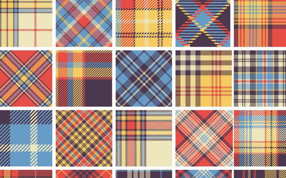 Set of seamless tartan squares Abstract Wallcoverings - Marshalls