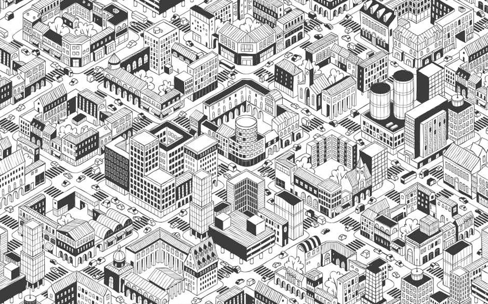 City urban blocks in isometric projection and perimeter blocks Abstract Wallcoverings - Marshalls
