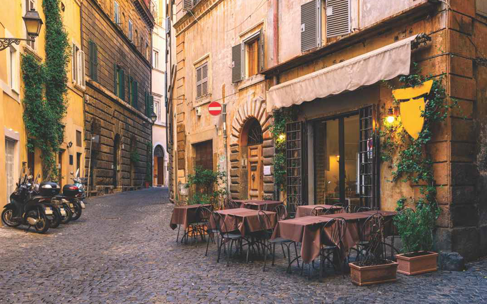 Beautiful view of old cozy street cafe in Rome, Italy Abstract Wallcoverings - Marshalls
