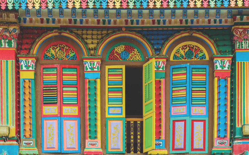 Vibrant colourful windows in Little India, Singapore Abstract Wallcoverings - Marshalls
