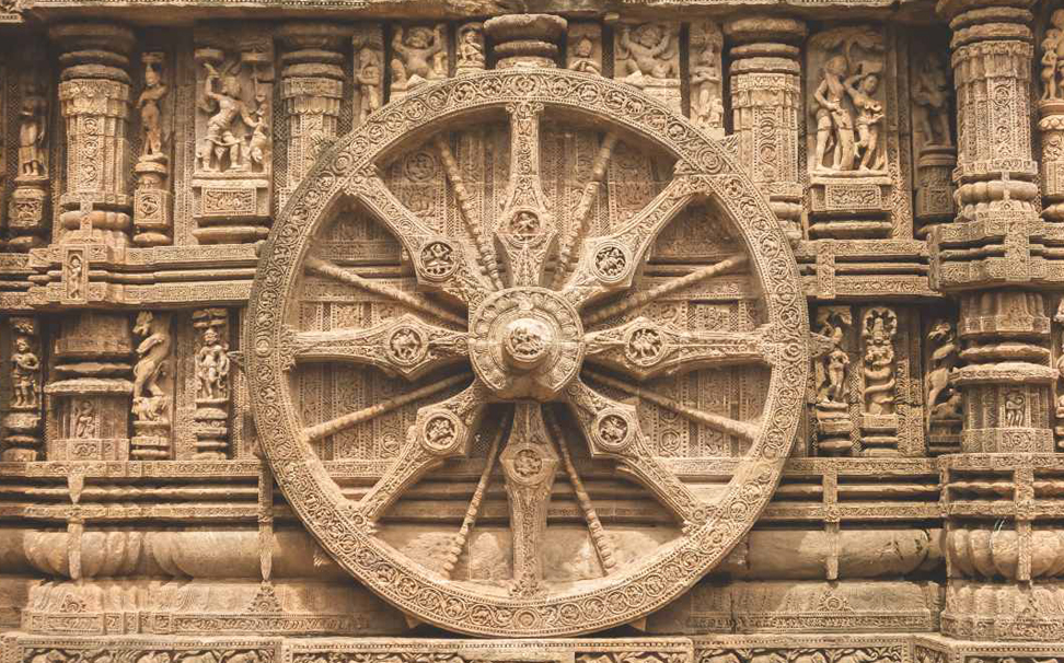 Craved chariot wheel into the wall of Sun temple, Konark Wallaper for walls - Marshalls
