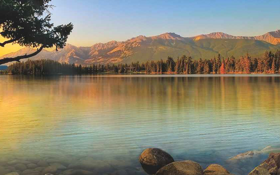 Panoramic View Of Sunrise Over The Lake Wallpaper