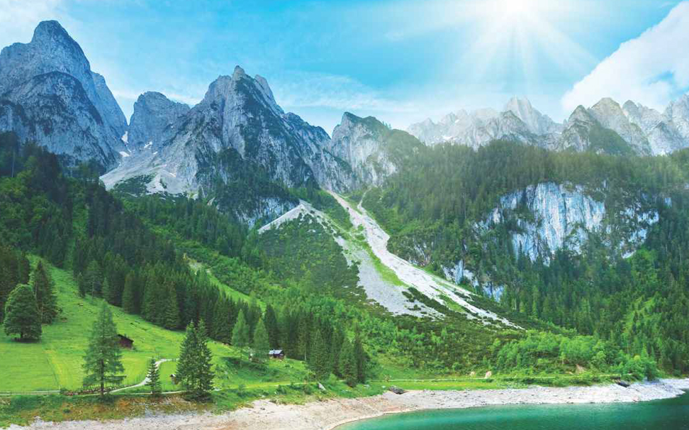 The beautiful Alpine mountains covered in glaciers, lake Gosausee wallpaper - Marshalls