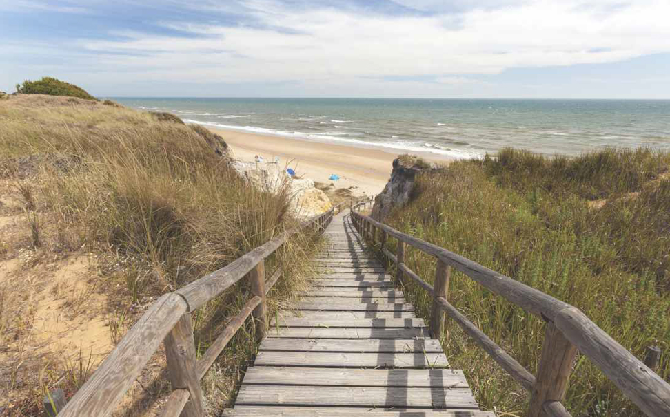A view of stairways to the Playa Del Asperillo beach, Matalascanas, Spain wallpaper - Marshalls