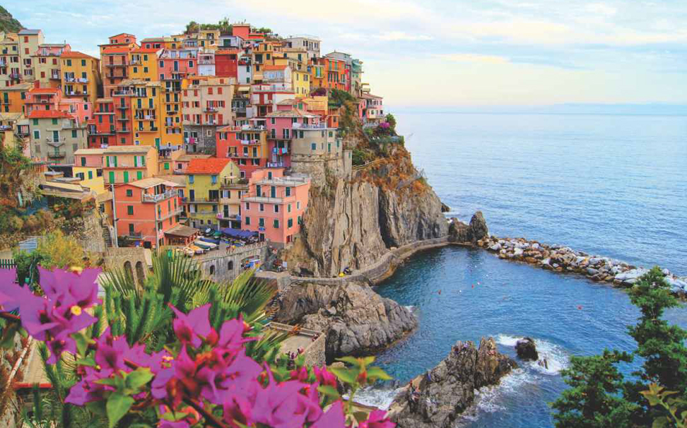 Manarola, a beautiful coloured town on the top of rock, Cinque Terre coast of Italy wallpaper - Marshalls