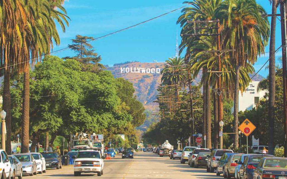 Sunset Boulevard with Hollywood sign on the hills in Los Angeles wallpaper - Marshalls