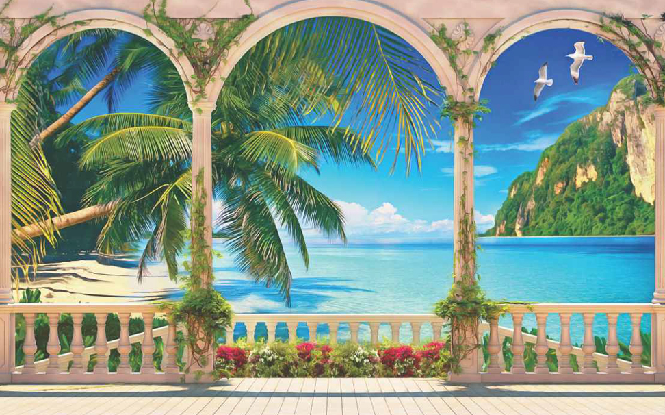 Terrace with colonnade and balustrade overlooking the tropical bay wallpaper - Marshalls