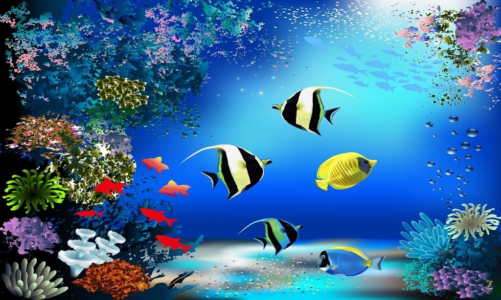 Decor Your Wall With Fish Aquarium Wallpaper In Kids Room